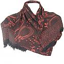 Wool Solid Circle Steamy Leaves Print Women's Shawl Wrap (Black)