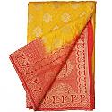 Banarasi Silk Orange Saree - Two Tone Color Golden Zari Border