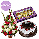 Five Star Cake, Mithai Box with Fresh Flower Basket