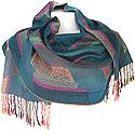 Wool Solid Paisley Scroll Print Women's Shawl Wrap (Purple)