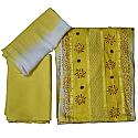 Yellow And White Cotton Kurtha Piece Set With Georgette Shawl