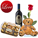 Ferrero Rocher chocolate box with wine bottle, teddy bear and FREE Roses