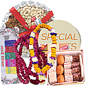 Mithai Box, Masala Tray, Saptarangi Tika and Mala Set for Bhaitika