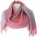 Wool Solid Damask Border Women's Shawl Wrap (Pink)