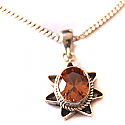 Beautiful Silver Amethyst Red-Orange Stone Pendant With Silver Chain Necklace