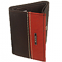 Woods Brown & Orange Leather Tri-Fold Wallet (Genuine Leather)