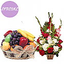 Fresh fruit basket with fresh flowers basket