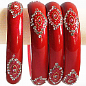 Lava Red Color Glass Bangles 2 pcs Set (Size 2-4)