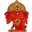 Metal Ganesh Ji Head With Stones On Mukut (Orange)