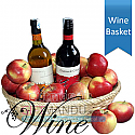 Two Wine Bottles in Apple Basket