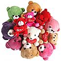 Dozen Cute Love Teddy Bears Basket - Love Bunch