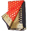 Banarasi Print Red Black Chiffon Saree - Golden Zari Floral Design