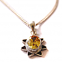 Beautiful Silver Amethyst Golden Stone Pendant With Silver Chain Necklace