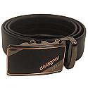 Designer Plus Leather Belt Formal Black Automatic Buckle