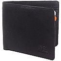 Woods Black Leather Single-Fold Wallet (Genuine Leather)