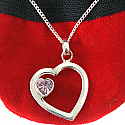 Sweetheart Silver Heart Pink Stone Pendant (With Silver Necklace Pendant)