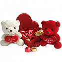 Say I Love You with Twin Teddy and Special Valentine Gourmet Chocolates