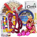 Dry Nuts Tray, Chocolates, Cookies, Juice, Tihar Mala Set and Tika (7 Items)