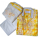 Color Neck Kurtha Piece Set With Georgette Shawl - Yellow