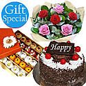 Five-Star Cake and Mithai with Half Dozen Roses Bouquet