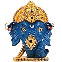 Metal Ganesh Ji Head With Stones On Mukut (Blue)