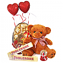 Valentine Gift of Snow Couple Dome, Teddy Bear and Chocolates With Hearts