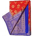 Banarasi Silk Red Saree - Two Tone Royal Blue Color Golden Zari Border