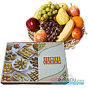 Fruit Round Basket and Assorted Sweets Mithai