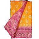 Banarasi Silk Orange Saree - Two Tone Rani Pink Color Golden Zari Border