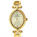 Titan Brass Case Champagne Dial Analog Watch for Women (2419YM02)