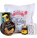Birthday Printed Cushion And Mug With Cookies, Tea Bag And Honey
